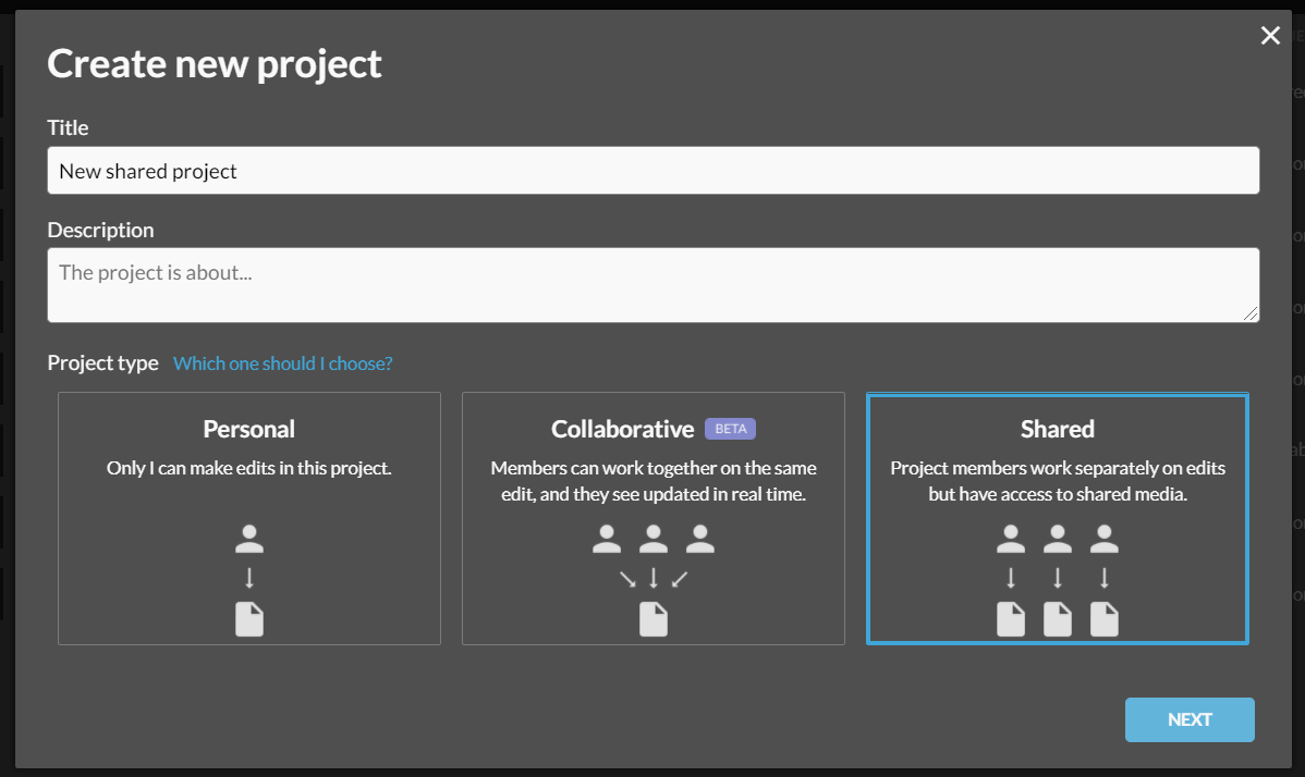 Create a new shared project screen