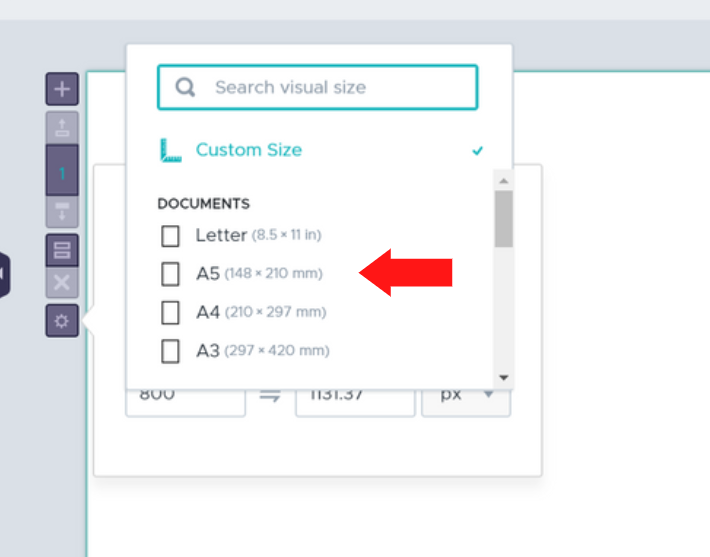 select one of the preset document options