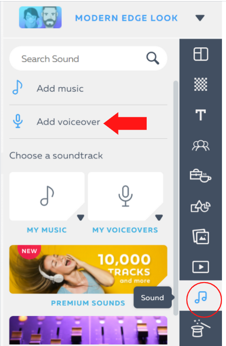 add voiceover