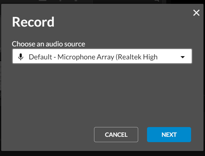 Select the default (microphone array) and click next