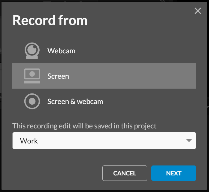 select where you want to record from