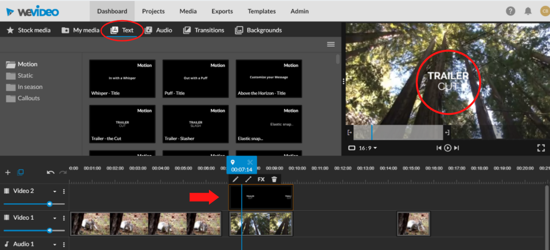 text layering video footage