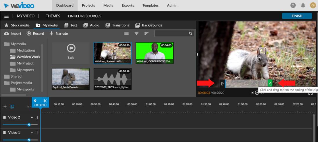 drag sliders in viewing window to shorten video