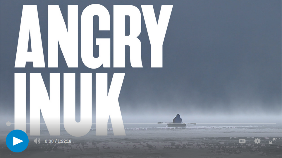 Angry Inuk play menu, row boat on water