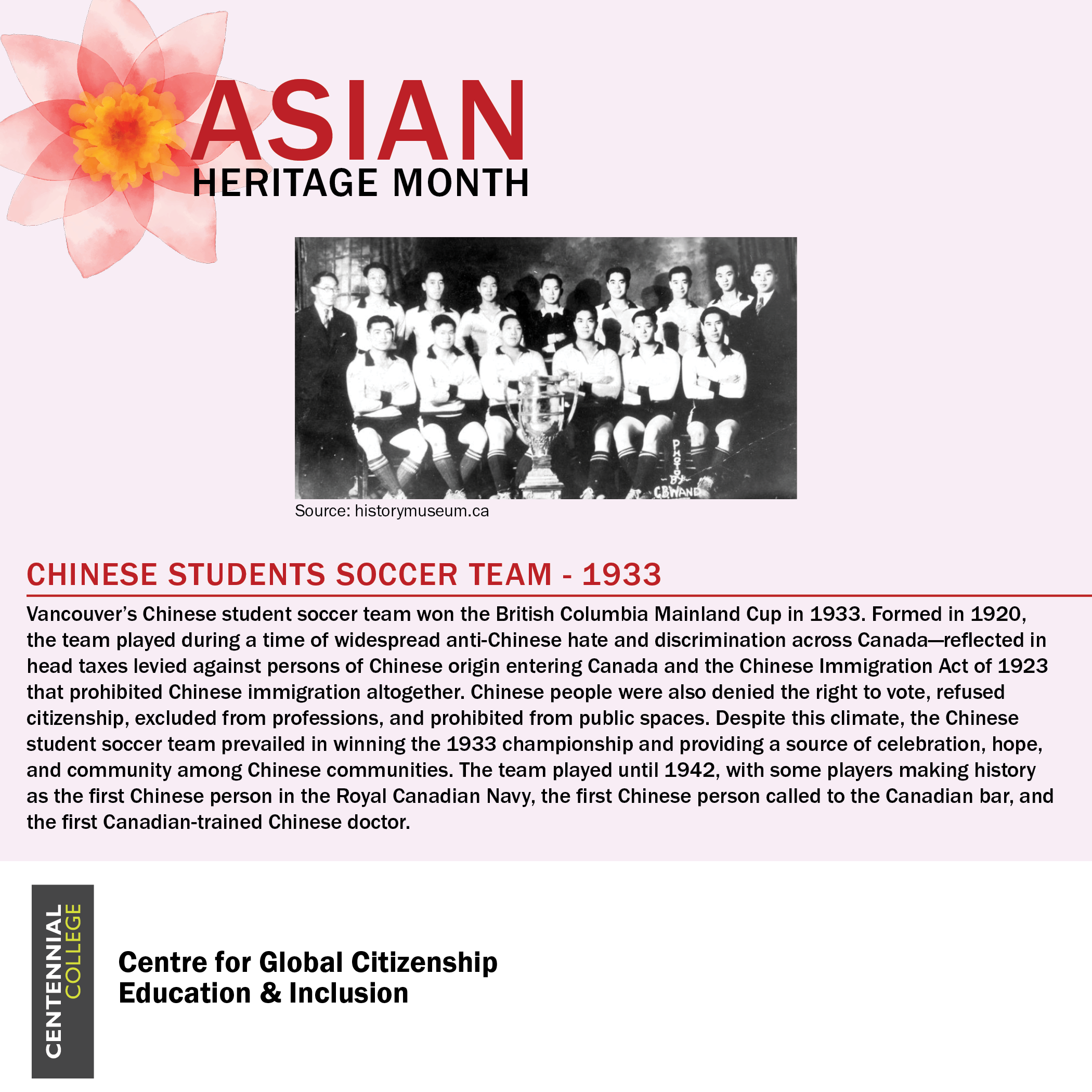 Asian Heritage month spotlight on the Chinese Students Soccer Team from 1933. There is a photo of the team with a large trophy, accompanied by the following text : Vancouver's Chinese student stoccer team won the British Columbia Mainland Cup in 1933. Formed in 1920, the team played during a time of widespread anti-Chinese hate and discrimination across Canada - reflected in head taxes levied against persons of Chinese origin entering Canada and the Chinese Immigration Act of 1923 that prohibited Chinese immigration altogether. Chinese people were also denied the right to vote, refused citizenship, excluded from professions, and prohibited from public spaces. Despite this climate, the Chinses student soccer team prevailed in winning the 1933 championship and providing a source of celebration, hope, and community among Chinese communities. The team played until 1942, with some players making history as the first Chinese person in the Royal Canadian Navy, the first Chinese person called to the Canadian bar, and the first Canadian-trained Chinese doctor.