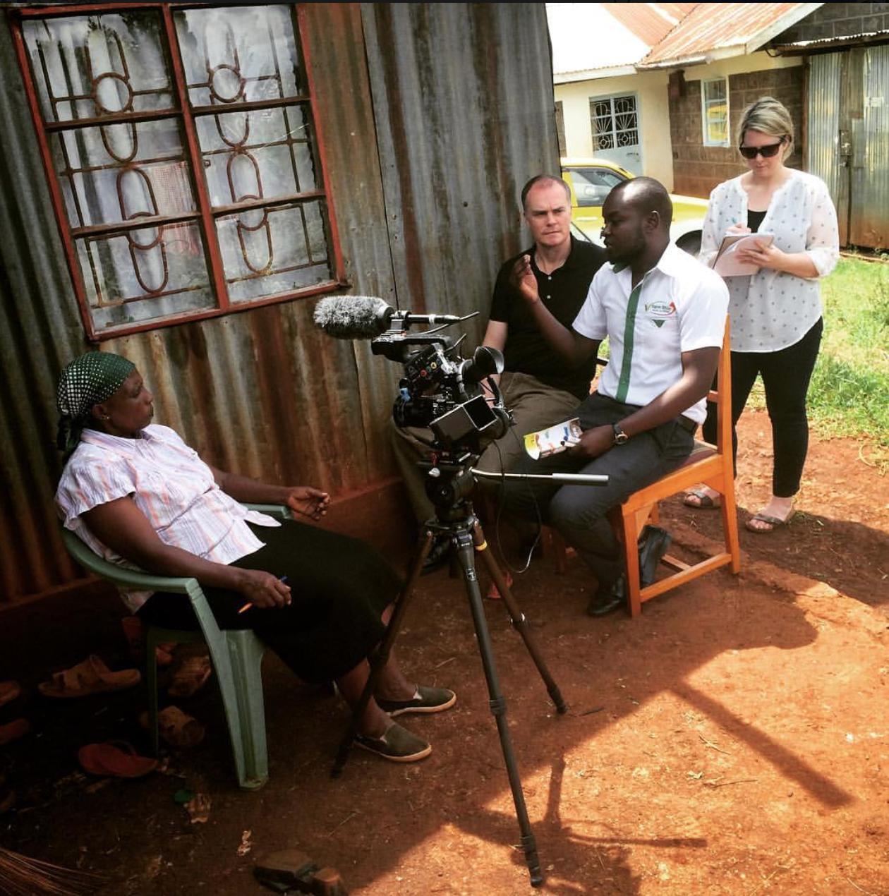 Researchers interviewing farmers in Kenya