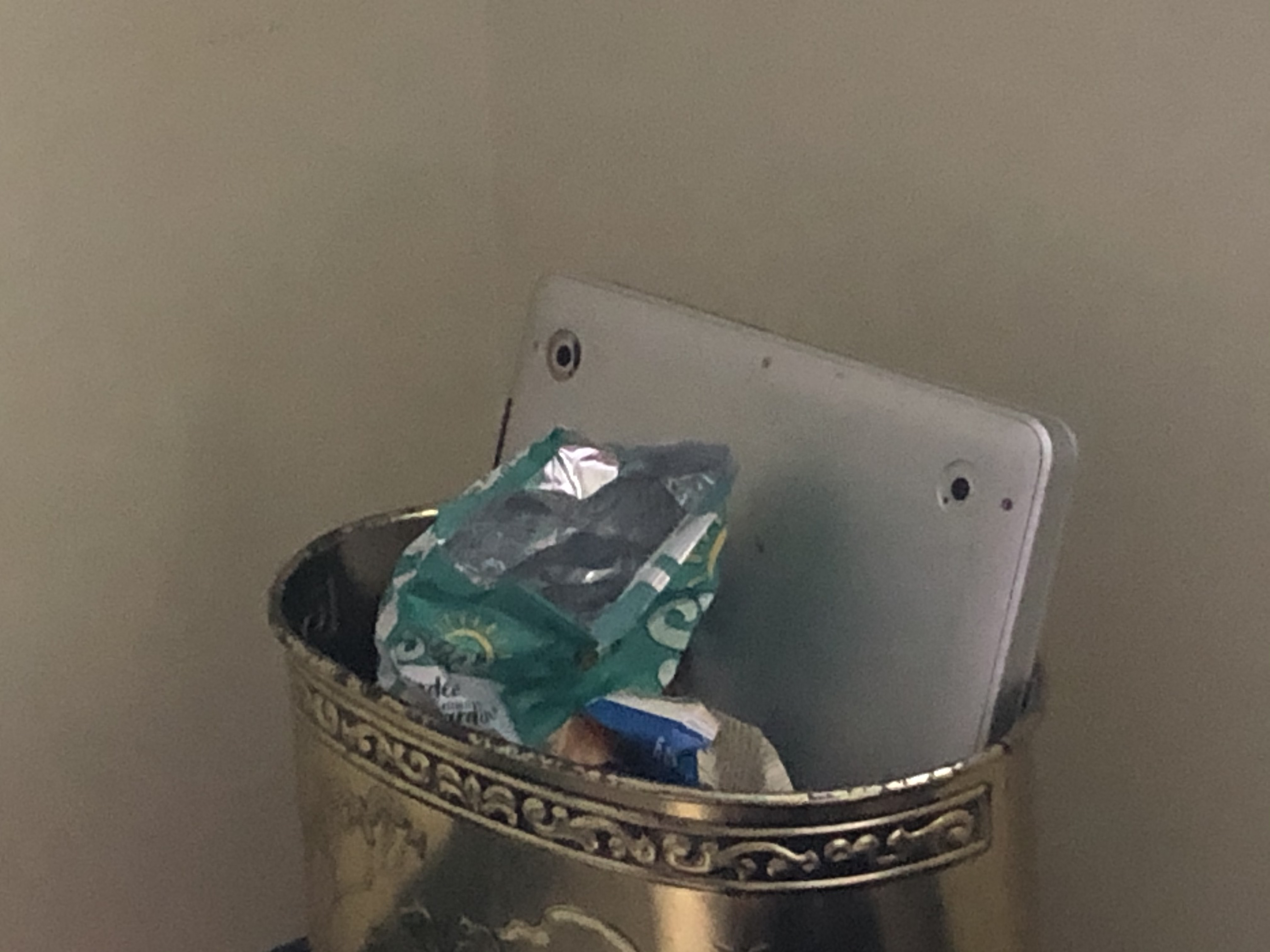 Debri in a trash can