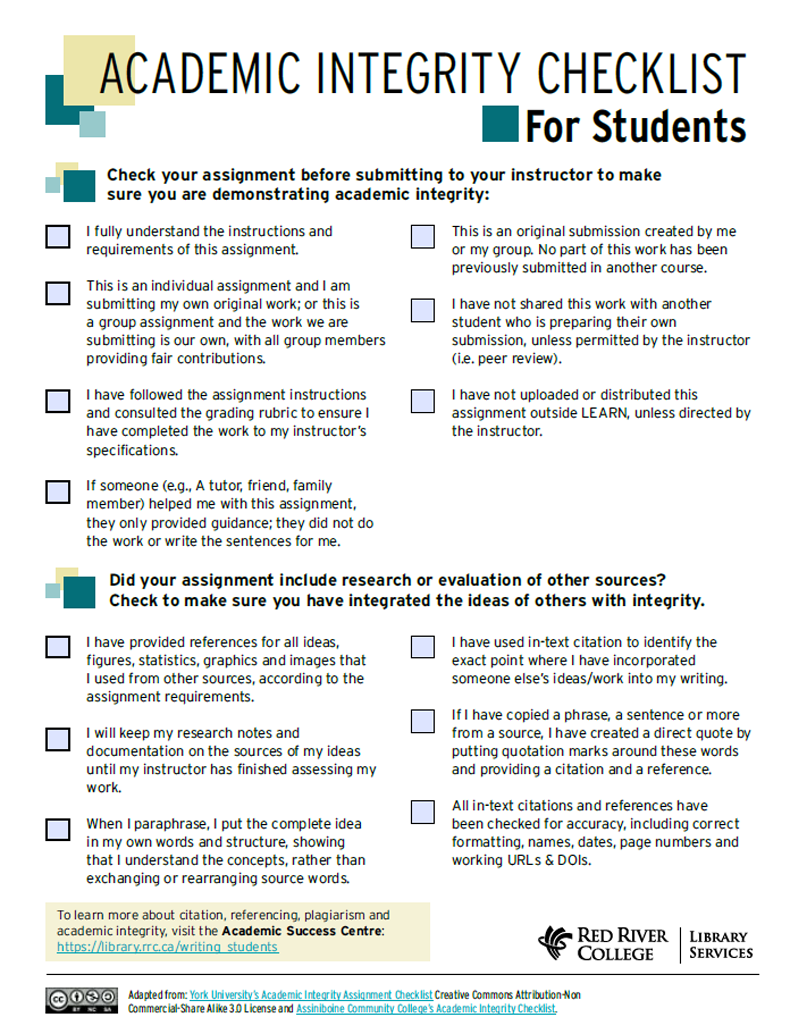 Academic Integrity Checklist for Students