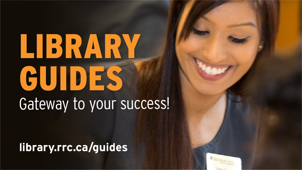 Student with big smile. Text says: Library Guides - Gateway to your success!