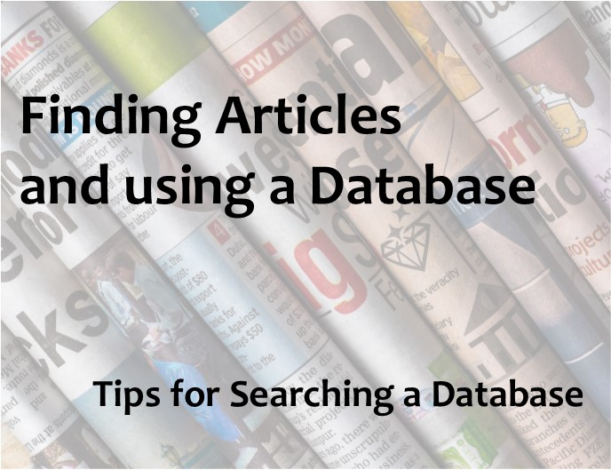 Finding articles and using a database