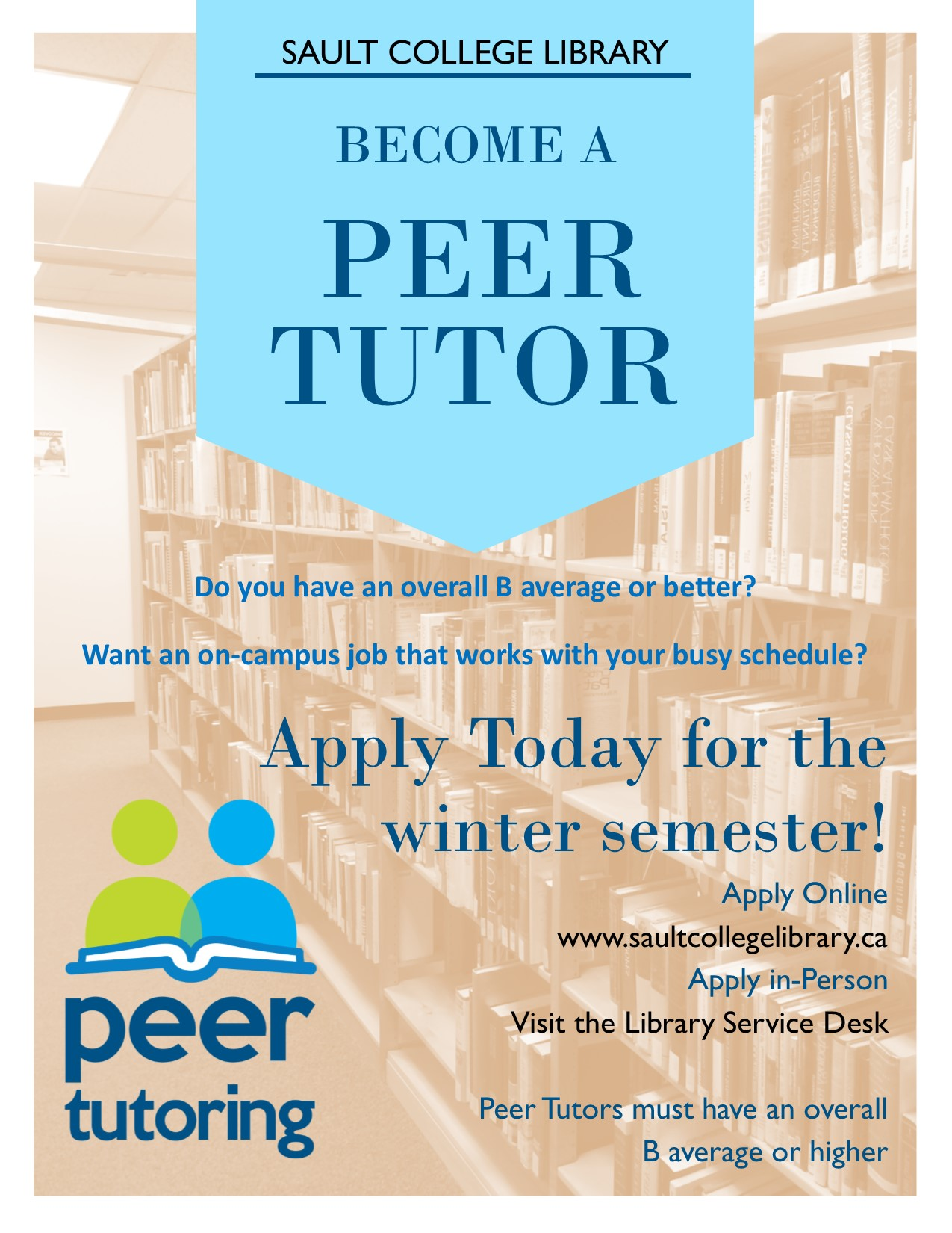 Apply now to be a Peer Tutor in Winter 2020