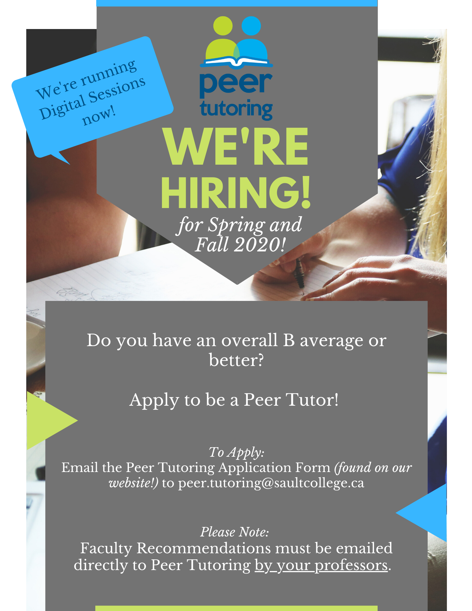 Peer Tutoring - We're Hiring for Spring and Fall 2020