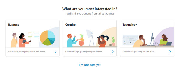 LinkedIn Learning's Interest selection page