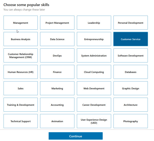 LinkedIn Learning's Popular Sklls page