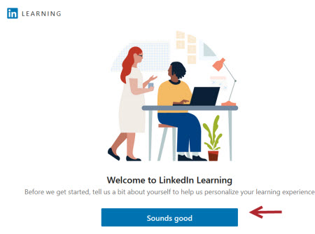 LinkedIn Learning Welcome screen