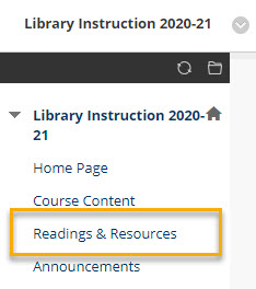 screenshot of the Blackboard menu link to Readings