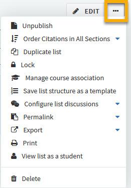 screenshot of list drop-down menu