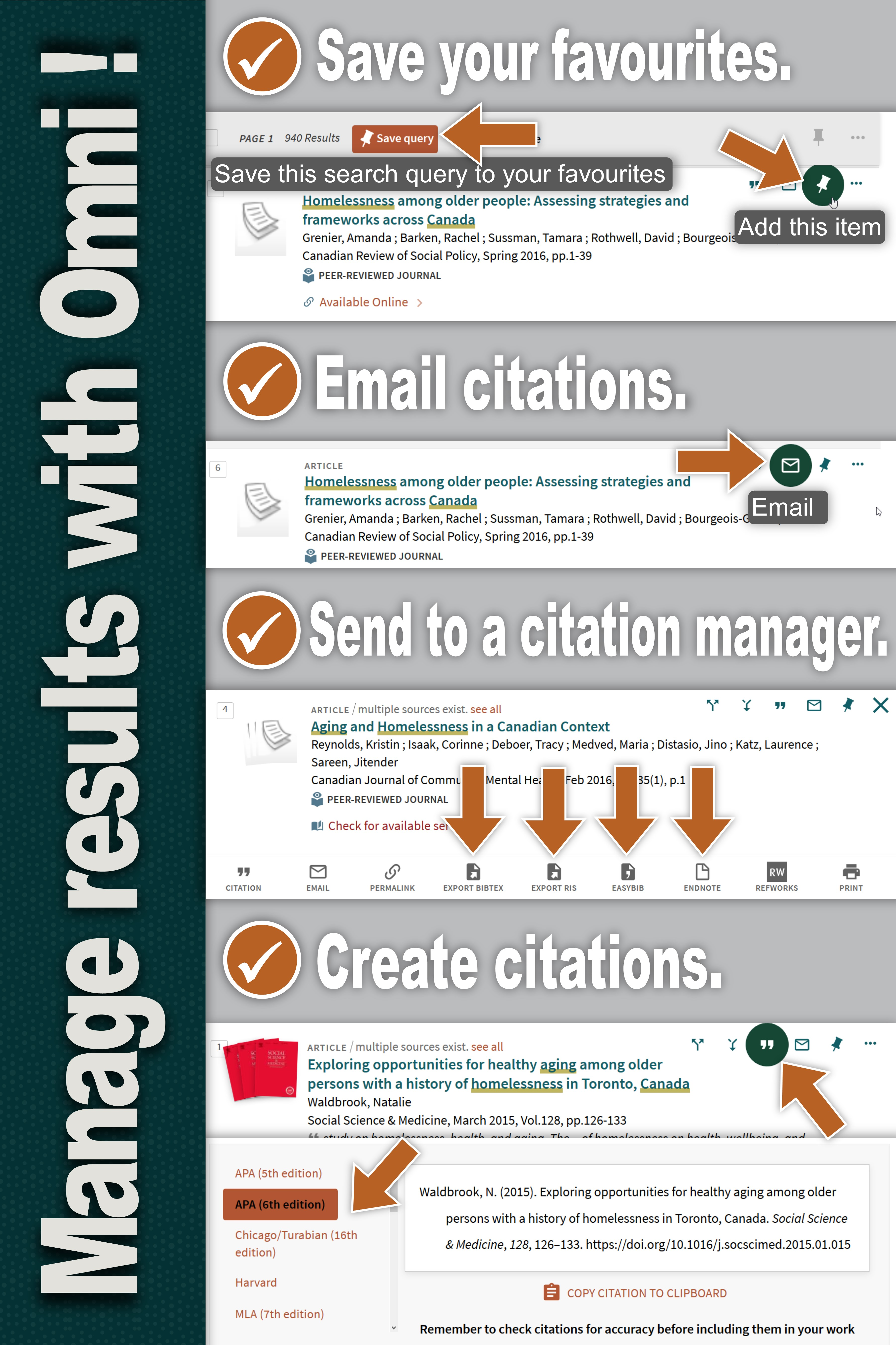 Poster showing Save Favourites, Email Citations, Send to a Citation Manager, and Create Citations