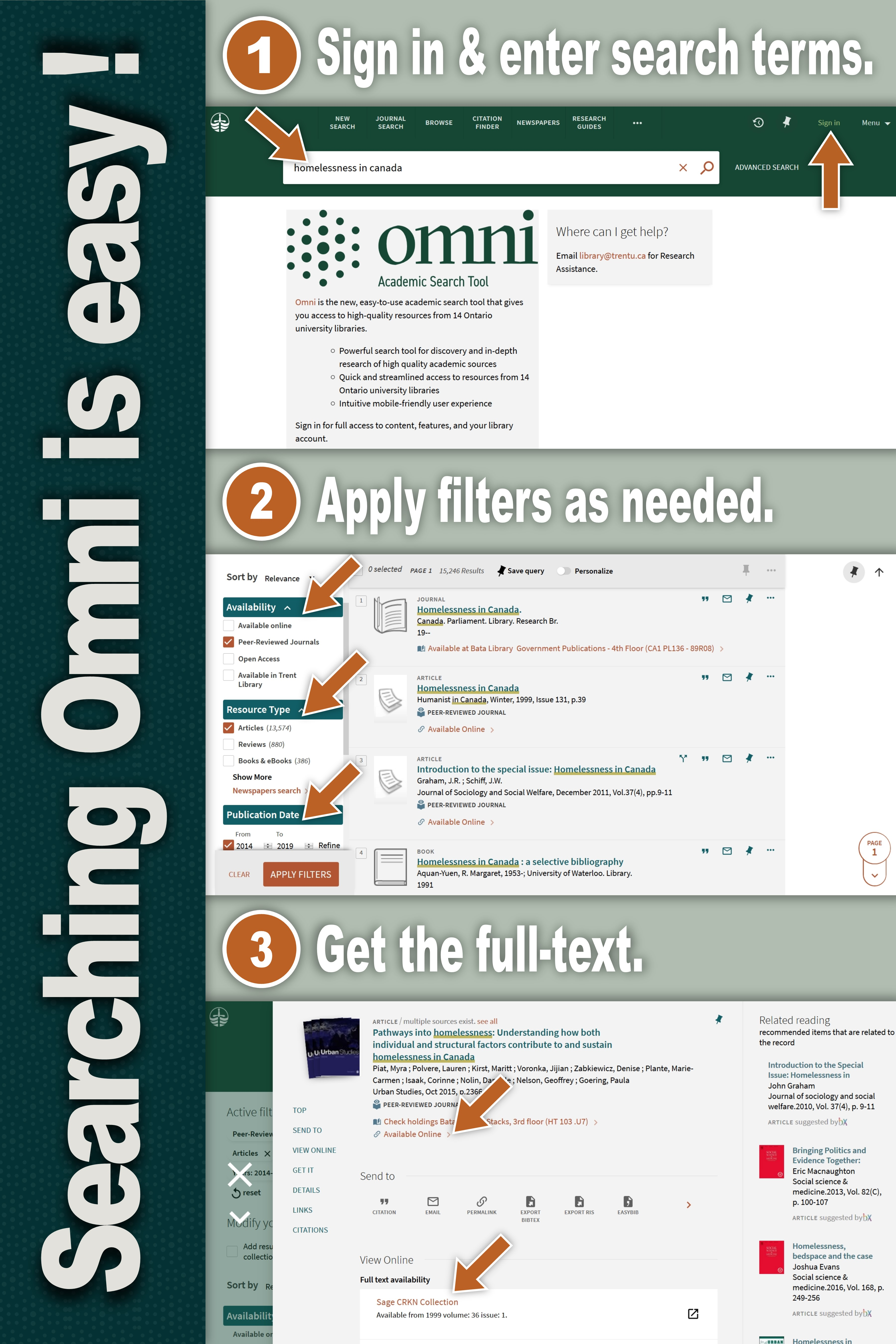 "Poster showing ""sign in & enter search terms"", ""apply filters as needed"", ""get the full text""."