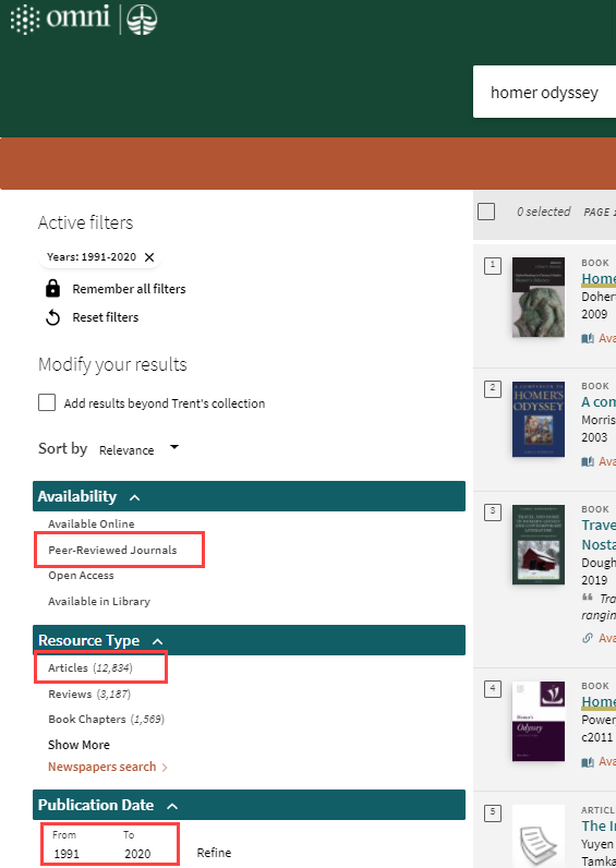 screenshot of filters for finding articles in peer reviewed journals