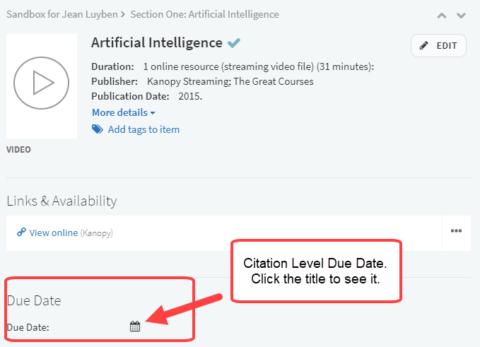 screenshot of citation level dates