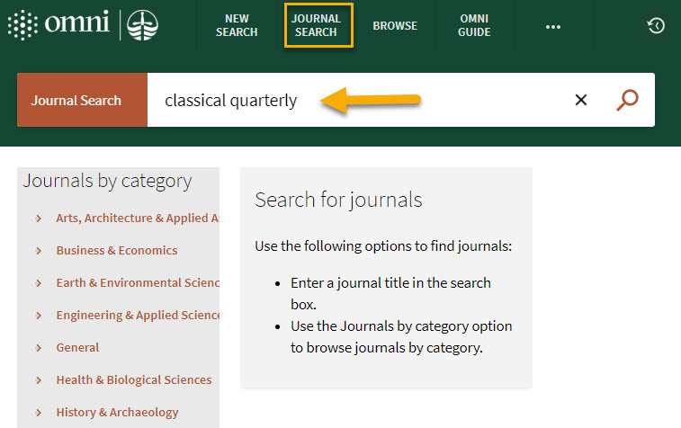 screenshot of Omni journal search