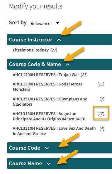 screenshot of filters for course reserves