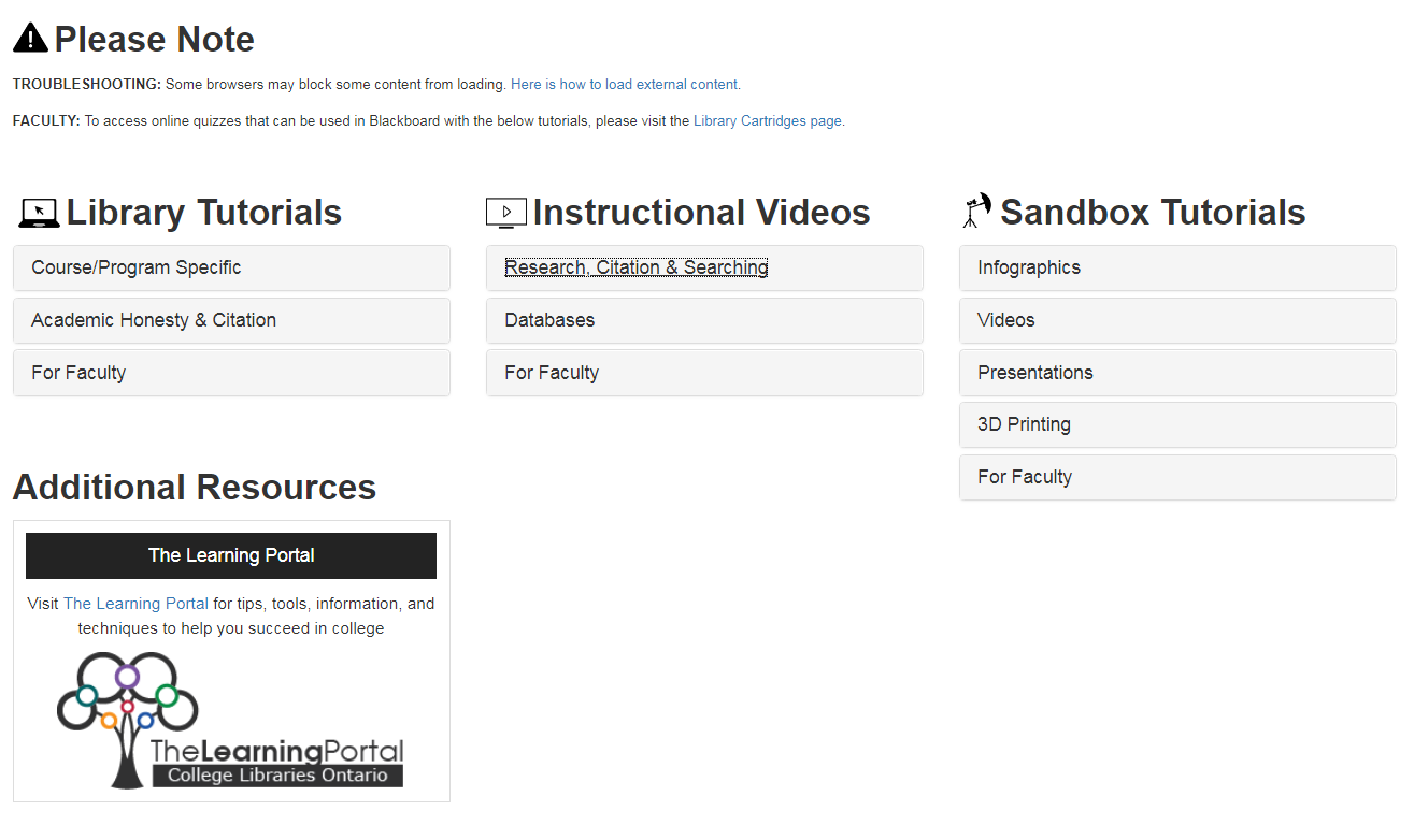Screenshot of Tutorials index