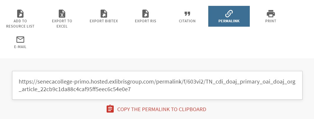 library search saving options with permalink highlighted
